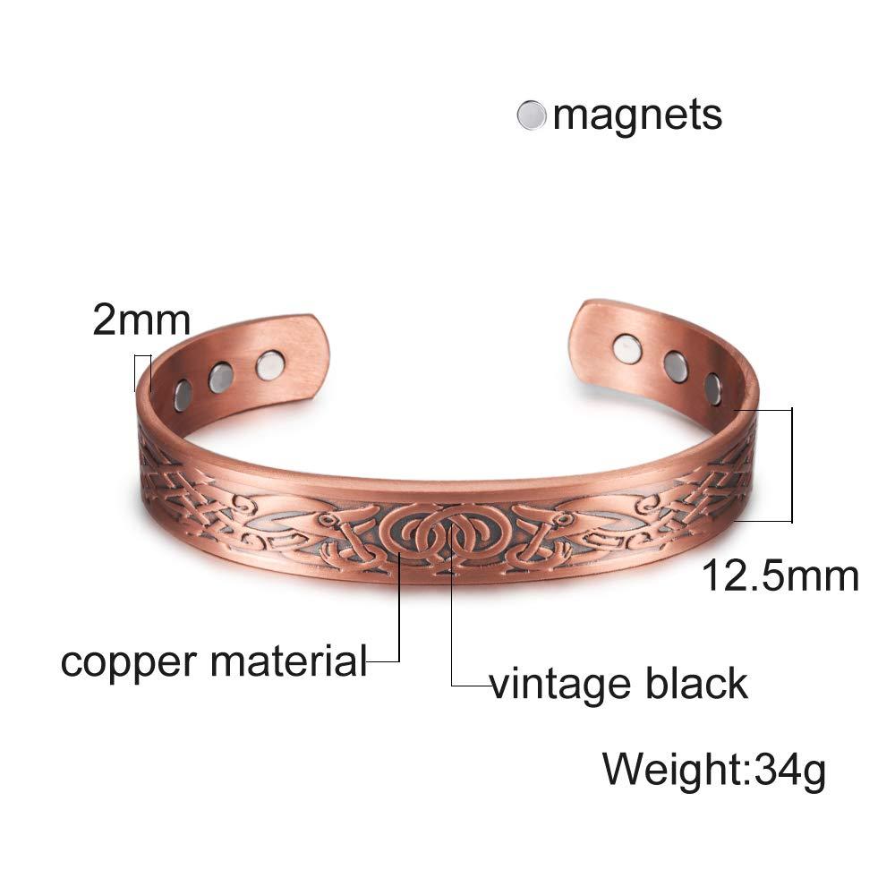 ALISETHEL Copper Bracelet for Men Pure Copper Bracelet Men Energy Magnetic Adjustable Cuff Bracelet Femme Vintage Viking Wide Bracelets Bangles for Women