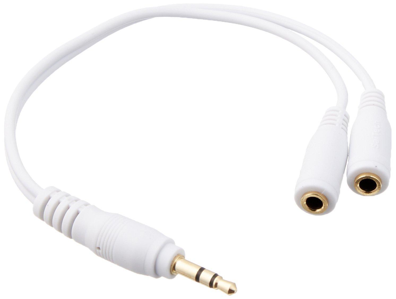 WHITE HEADPHONE EARPHONE SPLITTER Y CABLE 3.5mm
