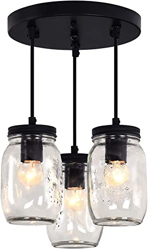 Merbotin Farmhouse Semi Flush Mount Mason Jar Glass Light