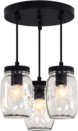 Merbotin Farmhouse Semi Flush Mount Mason Jar Glass Light