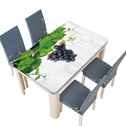 PINAFORE Indoor/Outdoor Polyester Tablecloth Isolated Grapevine and Blue Grape Wedding Restaurant Party Decoration W45 x L84.5 INCH (Elastic Edge)