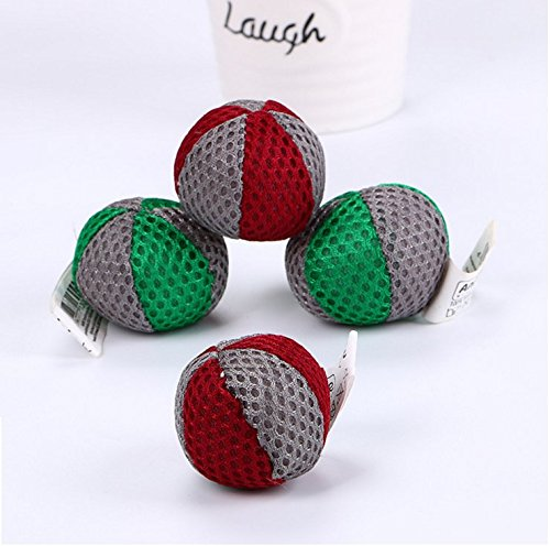 Stock Show 4Pcs Pet Cat Balls with Catnip, Double Color Mesh Chase Activity Toys Interactive Playtoys for Kitty Kitten, Red + Green