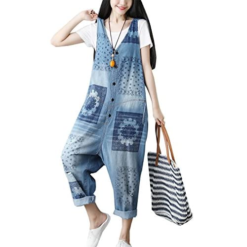 acee596f4bb Flygo Women s Loose Baggy Cotton V Neck Jumpsuit Rompers Overalls Harem  Pants cheap