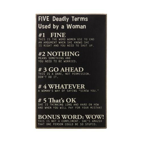 Collins Five Deadly Terms by Woman Decorative Sign New (Five Deadly Terms Used By A Woman)