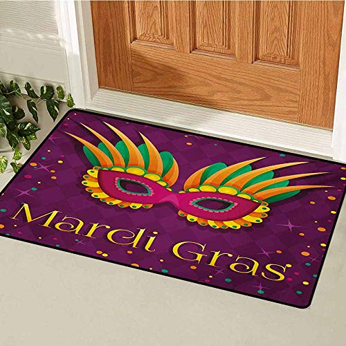 Mardi Gras Welcome Door mat Festival Mask Design on Purple Backdrop with Stars and Colorful Dots Door mat is odorless and Durable W29.5 x L39.4 Inch Purple Orange Green -