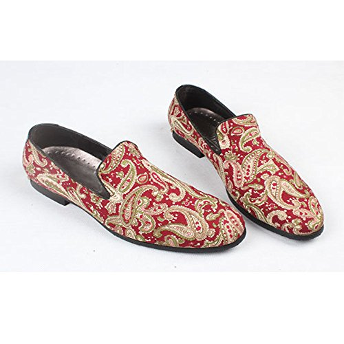 Fulinken Mens Moda Velluto Slip-on Scarpe Pantofole Punta Rotonda Mens Casual Mocassini Ricamati Nero / Blu / Rosso Rosso Paisley
