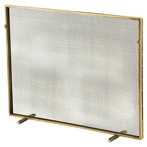 Antique Gold Fireplace Screen - Kathy Kuo Home Modern Classic Simple Iron Fireplace Screen - Gold