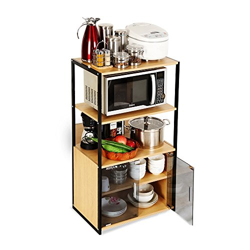 Creatwo Kitchen Storage Cabinet 5 Tiers Microwave Cart Organizer for kitchen, Burlywood by Creatwo