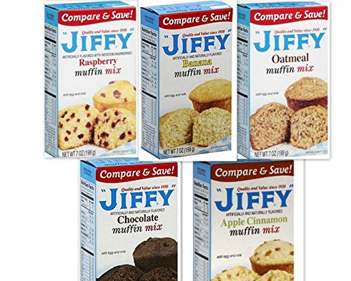 Raspberry Muffins - Jiffy Muffin Mix Variety Bundle, 7 oz (Pack of 5) includes 1-Box Banana Muffin Mix + 1-Box Oatmeal Muffin Mix + 1-Box Raspberry Muffin Mix + 1-Box Apple Cinnamon Muffin Mix + 1-Box Chocolate Muffin Mix