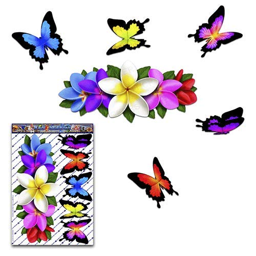 Multi Frangipani Centre Animal Vinyl Large Sticker Pack For Laptop Trucks JAS Stickers/® FLOWER PLUMERIA BUTTERFLY Car Decals Boats Bicycle Decor Caravans ST046MC/_3