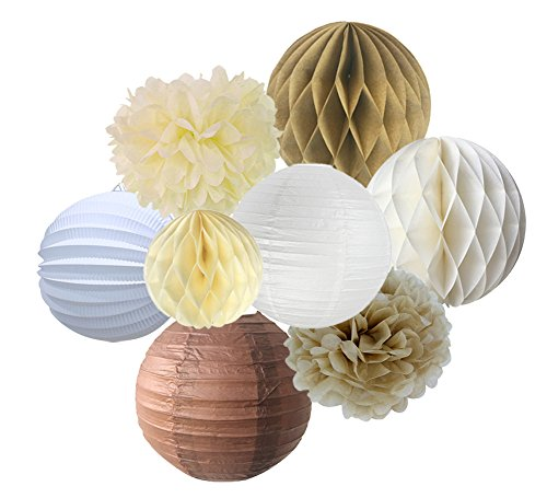 SUNBEAUTY-Pack-of-8-Cream-Brown-White-Paper-Accordion-Lanterns-Pom-Poms-Flowers-Tan-Color-Paper-Honeycomb-Balls-For-Party-Wedding-Birthday-Decorations