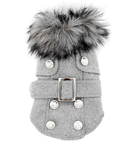 Pet Cat Dog Clothes European Woolen Fur Collar Coat Small Dog Cat Pet Clothes Costume Light Grey L
