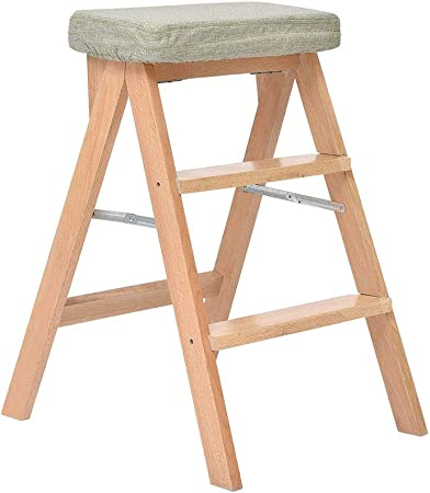 Taburete plegable de madera 3 niveles Taburete de escalera para niños adultos Asiento de banco para biblioteca Casa Cocina Escalera Plegable madera: Amazon.es: Hogar