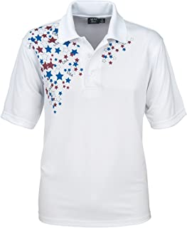 product image for Akwa Made in USA Men's Patriotic Polo with Moisture Wicking Polyester White