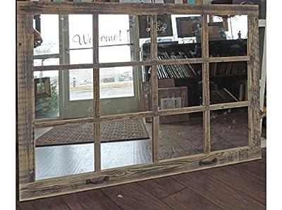 "Window Pane Mirror --46"" X 36"" Painted Barnwood Homesteader Style"