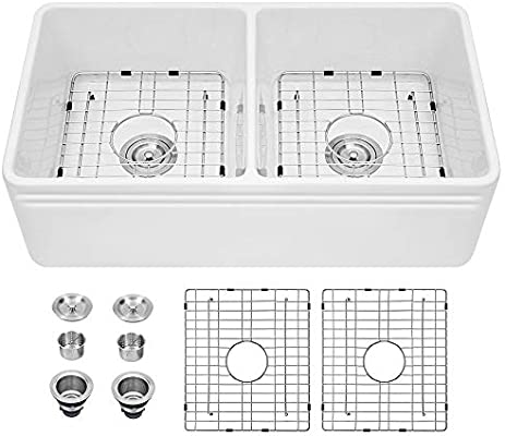 Sarlai 33 Inch Farmhouse Sink Double Bowl White Porcelain Ceramic Fireclay  Apron-Front Kitchen Farm Sink