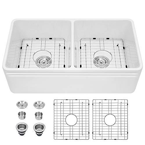 Farmhouse Sink White - Sarlai 33 Inch Double Bowl Porcelain Ceramic Fireclay Vitreous China Apron-Front Kitchen Farm Sink