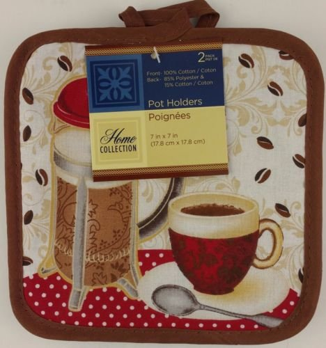 The Pecan Man Home Collection Coffee French Everyday Kitchen Set of 2 Potholders ()