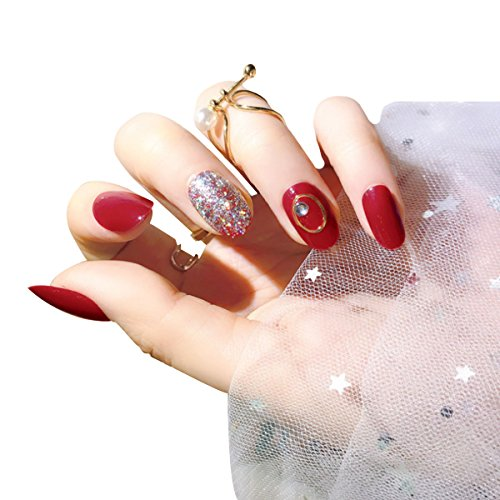 Felice Women Full Nail Art Sticker 24 Pack Gilding Self-adhesive Fingernails Fake Foil Non-toxic Rhinestones Decorations Nail Accessories -