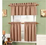Burgundy Gingham Check Tier Curtains, 36″ Tiers For Sale