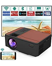 Mini Portable WiFi Projector with Bluetooth, Support 1080P HD/Zoom/Home Movie&Outdoor Video Projector, Built in Speaker, Compatible for Android, HDMI USB VGA AV Audio for Phone Laptop PC TV DVD PS4