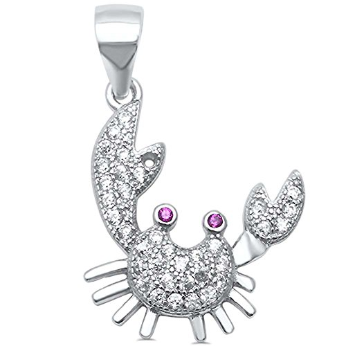 Crab Pendant Charm Round Simulated Red Ruby White Cubic Zirconia 925 Sterling Silver ()