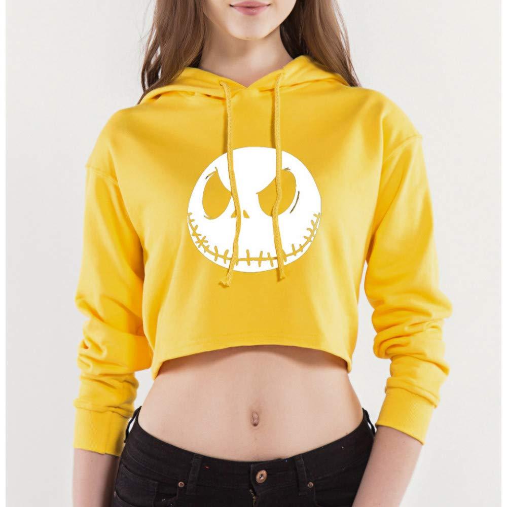 CHAOHAO 3D Kapuzenpullover Kapuze 3D Pullover Frauen Hip Hop Halloween Pullover Dünnen Abschnitt Nabel Print Kurzen Hoodie Gelbl