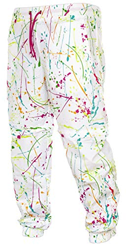 Funny Guy Mugs White Paint Splatter 80s & 90s Retro Neon Windbreaker Pants, Large ()
