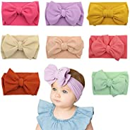 DoGeek Nylon Headbands Baby 8 Pcs Baby Girl Hairbands and Bows Newborn Infant Toddler Hair Accessories