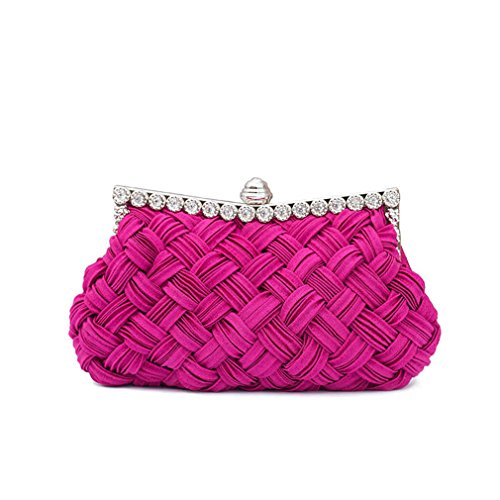 Clutch plum With Tote Bag Women's Chains Bride Bag amp;OS Day Party Clutch Diamond Evening ZJ Knitted fXvZ4