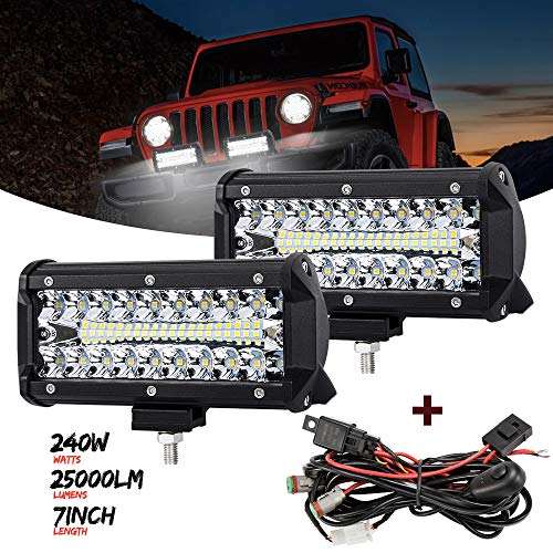 7 Inch LED Light Pods, 2 Pcs 240W Spot Flood Combo Beam 25000LM Triple Row Light Bar Waterproof Led Work Lights&Wiring Harness Kit for ATV UTV Truck Boat Golf Cart Off Road Fog Driving Bumper Light