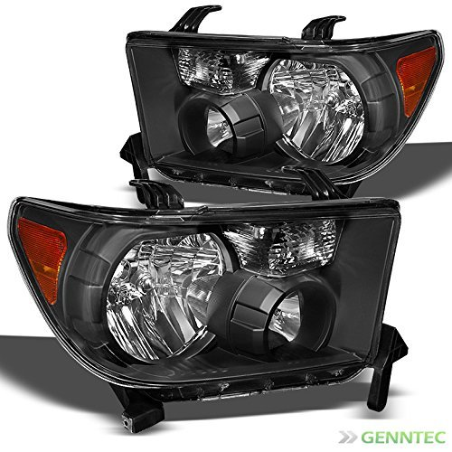 For 2007-2013 Tundra, 2008-2015 Sequoia Black Replacement Headlights Front Lamps L+R Pair L+R/2008 2009 2010 2011 2012