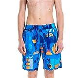Angel Legend Men's Printed Floral Cotton Beach Shorts Swim Trunks