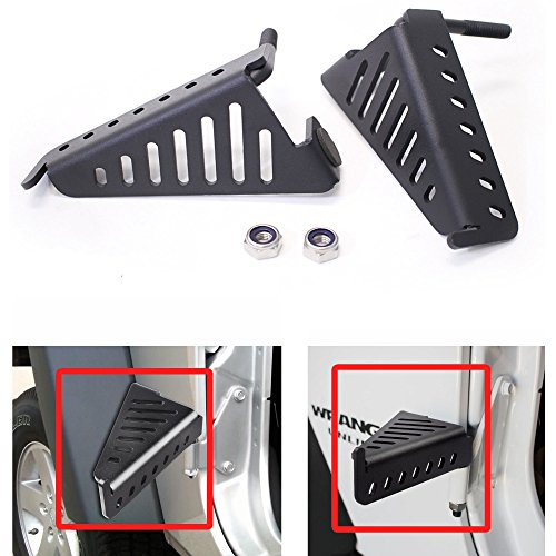 Front Hinge Pin Plate - AVOMAR 2Pcs Jeep Front Black Steel Foot Pegs for 2007-2017 Jeep Wrangler JK 2DR JKU 4DR
