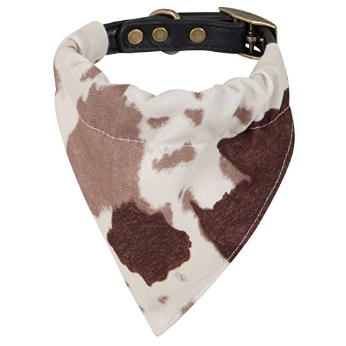 MuttNation Fueled by Miranda Lambert Bandana Custom Fit Dog Collar, Brown Cowhide Print