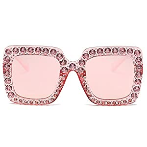 Rosiest Eyewear On Sale, Womens Fashion Artificial Diamond Cat Ear Quadrate Metal Frame Brand Classic Mirrored Lens Neutral Large Frame Side Shades Glasses (C)