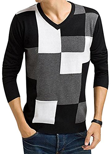 The One Men's Trendy Stylish Knitted Patches Sweater Slim Fit Pullover SW10, Black White Large