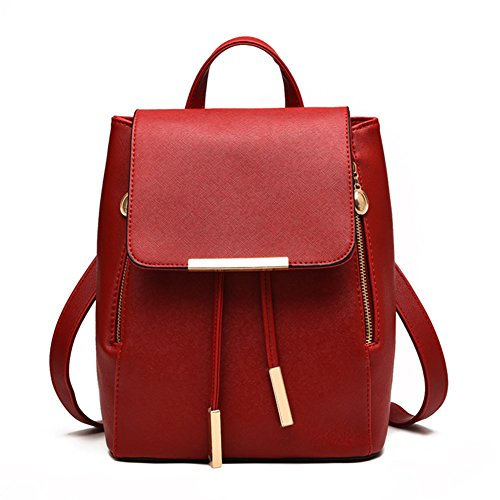 Z-joyee Casual Purse Fashion School Leather Backpack Shoulder Bag Mini Backpack for Women & - Red Backpack Purse