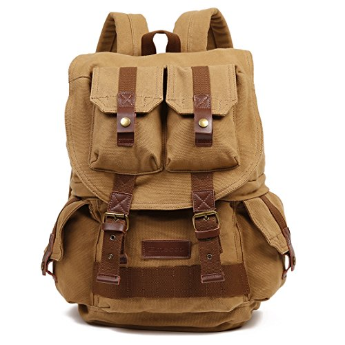 Canvas Khakis - Emecca Vintage Canvas Leather Camera Cases DSLR Rucksack Backpack for Men Women Khaki