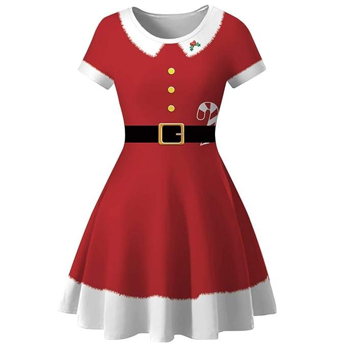 Amosfun Navidad Vestido de Mujer Rojo de Santa Vestido de Manga ...