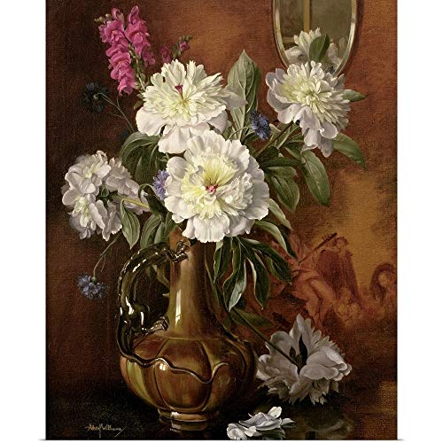(GREATBIGCANVAS Poster Print Entitled White Peonies in a Glazed Victorian Vase by Albert Williams 38