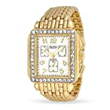 Bling Jewelry Gold Plated Metal Band Crystal Art Deco Style Chronograph Watch