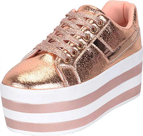 Cambridge Select Women's Low Top 90s Lace-Up Striped High Platform Flatform Fashion Sneaker (10 B(M) US, Rose Gold PU) -