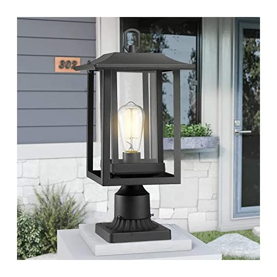 Beionxii Outdoor Post Light Fixture, Set of 2 Large Exterior Post Lantern with 3-Inch Pier Mount Base, Sand Textured… - ✅ INDUSTRIAL STYLE WITH MODERN APPEAL: Mix of modern and industrial elements, This outdoor pole lamp features an open metal outer cage which enhances its line silhouette. The perfect addition to your exterior ensemble with this pole lantern light. ✅ TWO MOUNTING WAYS: Includes pier mount base is available for both Post Mount and Pier Mount. This outdoor pier mount light is completely weather-resistant for any outdoor environment, perfect for garden, backyard, courtyard, patio, balcony, porch, pathway or entryway. ✅ BULB REQUIREMENTS: This outdoor pillar light is fully compatible with E26 Base LED, Incandescent, CFL Bulbs (60w Max, Bulb NOT included). Recommend using LED Vintage Style Bulb. - patio, outdoor-lights, outdoor-decor - 51qD4b JyML. SS570  -