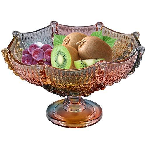 (Fruit Bowl Fruit Bowl European Style Crystal Glass Fruit Dish Living Room Fruit Tray Candy Dish High Foot Fruit Plate Fruit Basket (color : Amber))