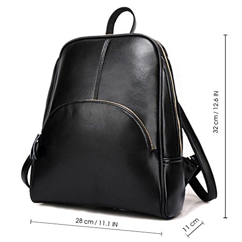 Pu Bag Shoulder for ELOMBR Casual Leather Black Purse Bag School Girls Ladies Backpack Women's pqn46xfC