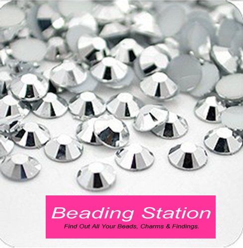 Beading Station 1440-Piece BSI Flat Back 14-Cut Round Rhinestones, 3mm-10ss, Silver