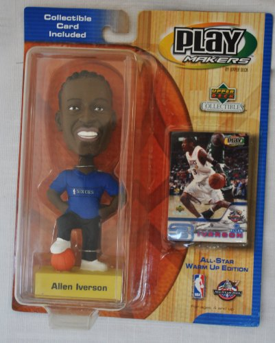 Philadelphia 76ers star #3 Allen Iverson official NBA Upper Deck Playmakers Bobble card set Bobblehead by Upper Deck