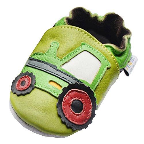 Jinwood designed by amsomo 12 Verschiedene Modelle - Jungen - Maedchen - Hausschuhe - Echt Leder - Lederpuschen - Krabbelschuhe - Soft Sole/Mini Shoes DIV. Groeßen 17/19-35/36 tractor green mini shoes