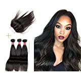 LANDOT 3 Bundles with a 4x4 Free Part Lace Closure Straight Brazilian Virgin Hair Unprocessed Human Hair Extensions Weaves with Top Closure Natural Color